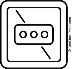 Type l power socket icon, outline style