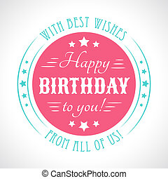 type., letras, card., tipografia, aniversário, vetorial, fonte, feliz