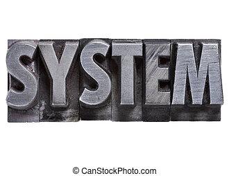 type, métal, système, mot