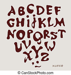 type MANGO - Vector drawing the alphabet on a gray...