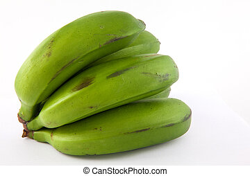 Type of banana called guineo or bocadillo Musa acuminata in white background