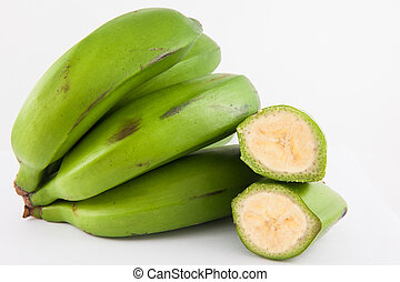 Type of banana called guineo or bocadillo (Musa acuminata) isolated in white background
