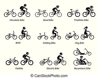 Type of bicycles and riders.