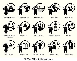 Type of government laws, rules, and regulations icons.