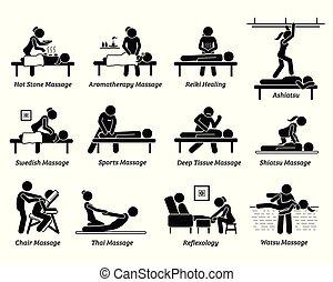 Artworks depict hot stone massage, aromatherapy, Reiki healing, ashiatsu, Swedish, sport massage, deep tissue, Shiatsu, chair, Thai massage, foot reflexology, and Watsu.