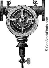 Type of rotary pump with a single axis and four pallets, vintage engraving.