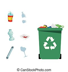 Type Of Trash Concept Green Recycle Garbage Bin Vector Image