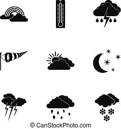 Type of weather icons set, simple style