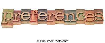 type, préférences, letterpress