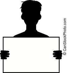 type, vide, silhouette, tenue, signe