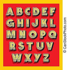 type., vindima, vetorial, retro, alfabeto, fonte