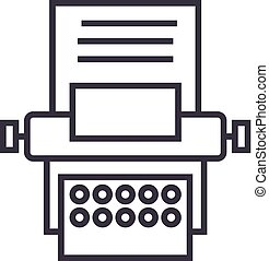 type writer vector line icon, sign, illustration on background, editable strokes