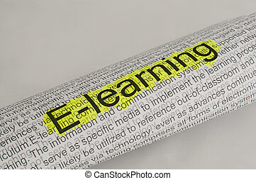 Typed text E-learning on paper and texts on background....