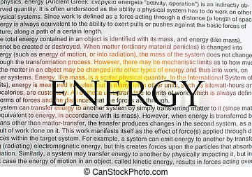 Typed text Energy on paper and texts on background