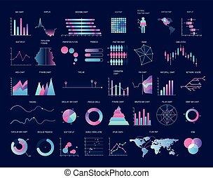 types., 情報, ベクトル, 財政, カラフルである, ビジネス, 図, チャート, 現代, グラフ, プレゼンテーション, report., 様々, イラスト, 統計上である, プロット, コレクション, visualization., データ