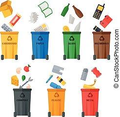 types., desperdício, colorido, latas lixo