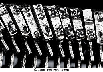 types of an old typewriter. symbol photo for communication in earlier times