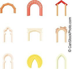 Types of arches icons set, cartoon style