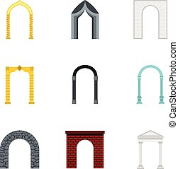 Types of arches icons set, flat style