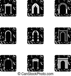 Types of arches icons set, grunge style