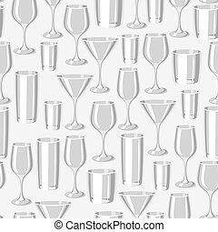 Types of bar glasses. Seamless pattern with alcohol glassware
