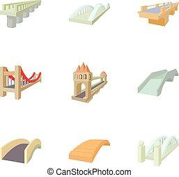 Types of bridges icons set, cartoon style