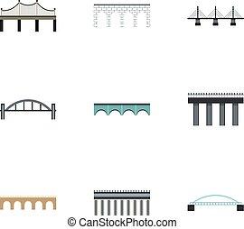 Types of bridges icons set, flat style