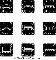 Types of bridges icons set, grunge style