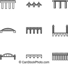 Types of bridges icons set, outline style