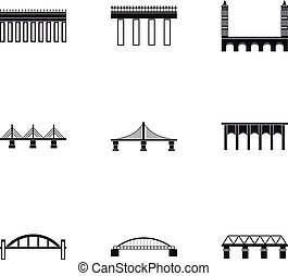 Types of bridges icons set, simple style