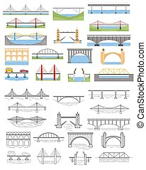 Types of bridges set. Color and linear graphic design, infographic elements