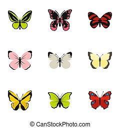 Types of butterflies icons set, flat style