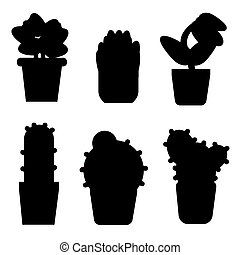 Types of cactus and flowers icon set. Simple style icons for web isolated on background