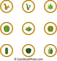 Types of cactus icons set, cartoon style - Types of cactus...