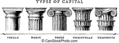 Types of capital. Classical order - Vector hand drawn...