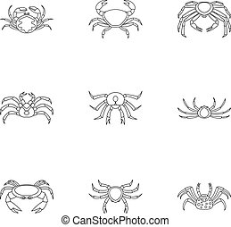 Types of crab icons set, outline style - Types of crab icons...