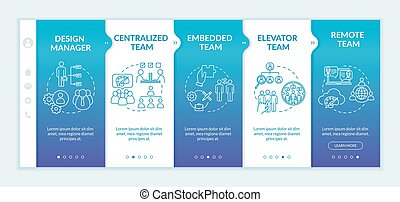 Types of design team onboarding vector template. Design manager. Centralized team. Embedded team. Responsive mobile website with icons. Webpage walkthrough step screens. RGB color concept