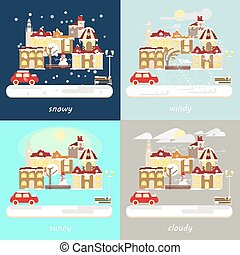 types of different winter weather - Four types of different...