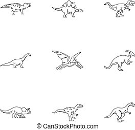 Types of dinosaur icons set, outline style - Types of...