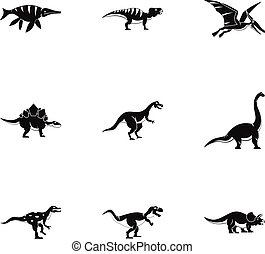 Types of dinosaur icons set, simple style - Types of...