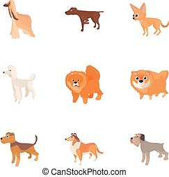 Types of dogs icons set, cartoon style