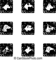 Types of dogs icons set, grunge style