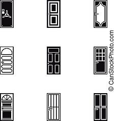 Types of doors icons set, simple style