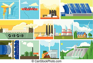 Types of natural resources for producing eco energy. electricity ...