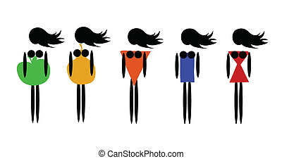 Types of female figures - Vector illustration of five types...