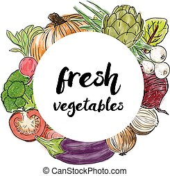 Types of fresh vegetables in the circle