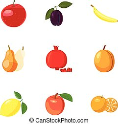 Types of fruit icons set, cartoon style