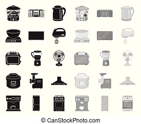Types of household appliances black. mono icons in set collection for design. Kitchen equipment vector symbol stock web illustration.