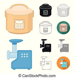 Types of household appliances cartoon, black, flat, monochrome, outline icons in set collection for design. Kitchen equipment vector symbol stock web illustration.