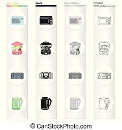 Types of household appliances cartoon black monochrome outline icons in set collection for design. Kitchen equipment vector symbol stock web illustration.
